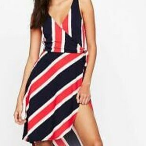 Express striped wrap dress